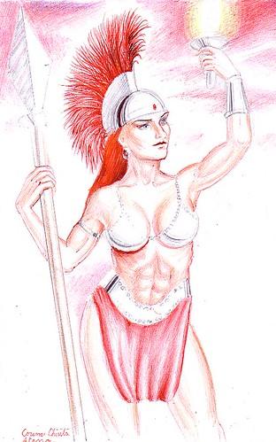 Zeita Atena din mitologia greaca desenata cu un pix rosu si unul negru