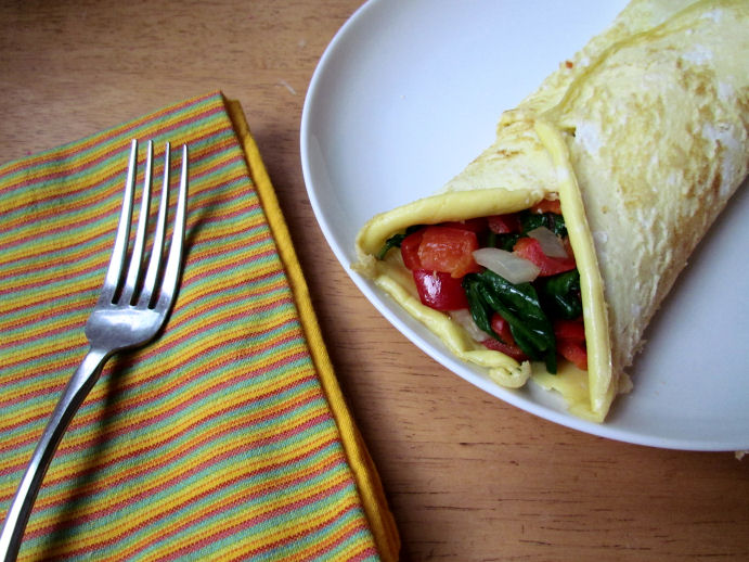 spinach in a veggie omelet