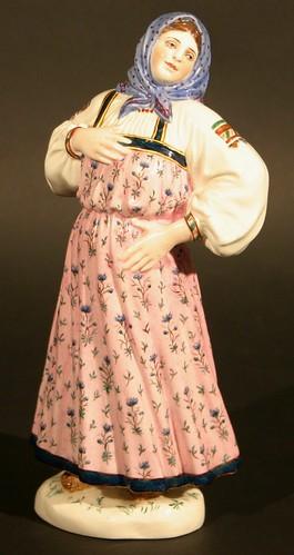 A porcelain figure of a peasant woman by Natalya Danko