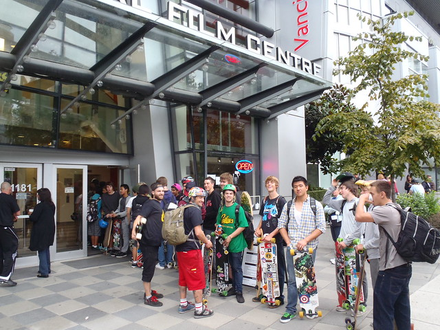 LINE UP FOR THE INTERNATIONAL FILM CENTER FOR THE LONGBOARDING EXPO