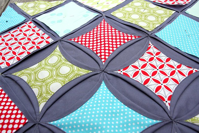 Cathedral Window pillow WIP