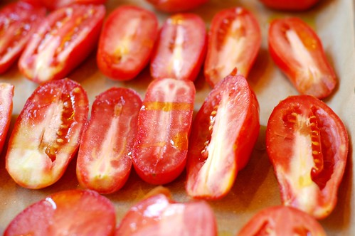 Tomatoes about to go into the oven by Eve Fox, Garden of Eating blog, copyright 2011