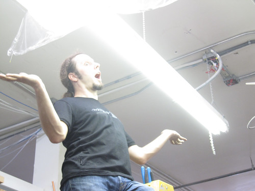 ben testing the lights at noisebridge