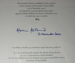 "Holland Signature on  ""De Profundis"""