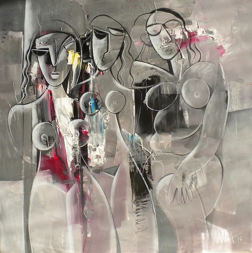 Silver Ladies - Painting - Cubism