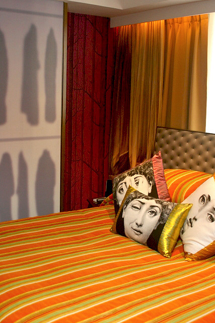 Quirky cushions and wardrobe panels