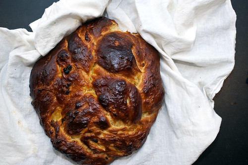 challah with honey and orange juice