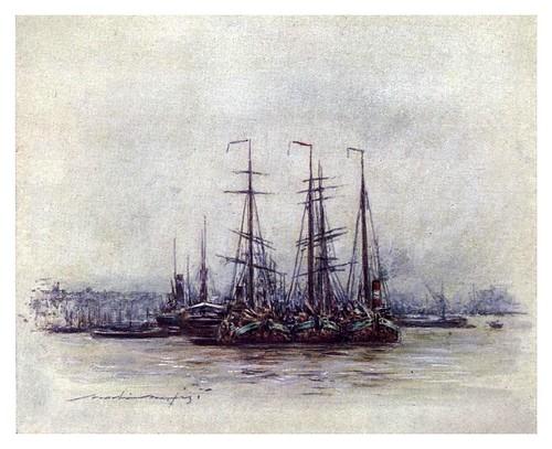 018-Barcazas holandesas cerca de la Torre-The Thames-1906- Mortimer Menpes