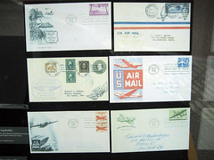 Vintage Air Mail (pr0digie) Tags: seattle typewriter vintage stamps antique letters museumofflight usps postage envelopes airmail cancellation