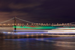 Party boat from Mars (Nocturnal Bob) Tags: sf sanfrancisco california longexposure party music lights boat lyrics adult baybridge embarcadero colored lighttrails flashing loud obnoxious pier7