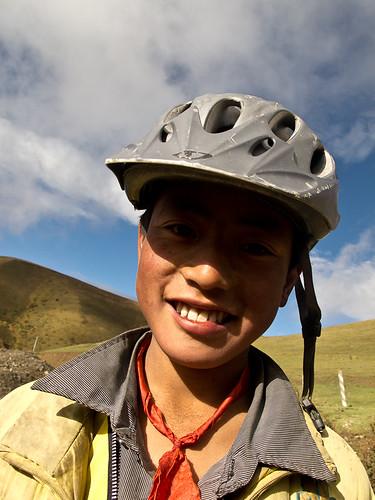Tibetan boy in helmet
