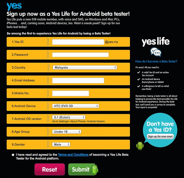 Sign Up For Yes Life For Android Beta Tester