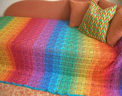 Rainbow Crochet Spiderweb Cotton Blanket With Turquoise Border (babukatorium) Tags: pink blue red summer orange color green art net thread yellow vintage rainbow funny colorful purple handmade turquoise teal burgundy oneofakind pastel web crochet spiderweb violet style shades retro cotton shade blanket afghan gradient hippie psychedelic filet arcobaleno bohemian manta multicolor striped bedspread whimsical darkblue mintgreen iceblue haken hkeln emeraldgreen croch coperta ganchillo babypink fuxia uncinetto cotone fattoamano copriletto  tii horgolt uvgreen babukatorium