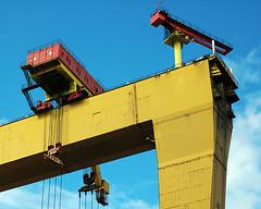 """Goliath"" Krupp Crane at Harlard & Wolff Shipyard, Belfast (Puckpics) Tags: blue red colour industry yellow high industrial power lift mechanical crane belfast lookingup puckle strong northernireland strength samson goliath allrightsreserved harlandandwolff flickraward charlespuckle"