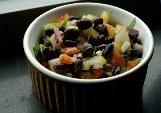 Black bean salsa with avocado and cucumbers