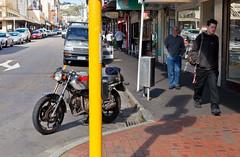 the things I found on saturday # 3 (Lester Ralph Blair) Tags: street trees newzealand people urban pedestrian wellington motorcycle footpath cubastreet tearo walkingaroundtheblock