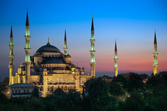 The Blue Mosque - Istanbul, Turkey (blame_the_monkey) Tags: old travel architecture night turkey muslim istanbul historic bluehour portfolio bluemosque cami minarets sultanahmet sultanahmed blamethemonkey elialocardi