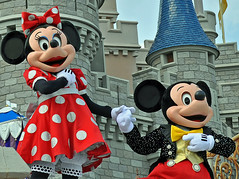 Minnie and Mickey (littlestschnauzer) Tags: show red white castle mouse orlando dress florida magic kingdom ears disney mickey polka dot minnie magickingdom 2011