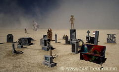 Burning Man 2011 Black Rock City Cemetery by Shannon Bananon (Dust To Ashes) Tags: pictures city party people sculpture storm man black art cemetery graveyard rock by photography photo desert photos stones ne