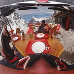 Breathtaking scenery and Dykster's reflection in Hadley's goggles - Portillo Men's Ski Camp 2011 PHOTO CREDIT: Brandon Dyksterhouse