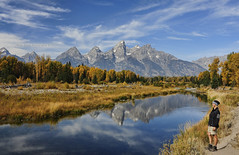 Schwabacher's Landing (Deby Dixon) Tags: travel trees woman selfportrait mountains color reflection fall tourism scale nature river model nikon hiking adventure wyoming aspen tetons pathway deby allrightsreserved grandtetonnationalpark 2011 naturephotographer schwabacherslanding debydixon debydixonphotography