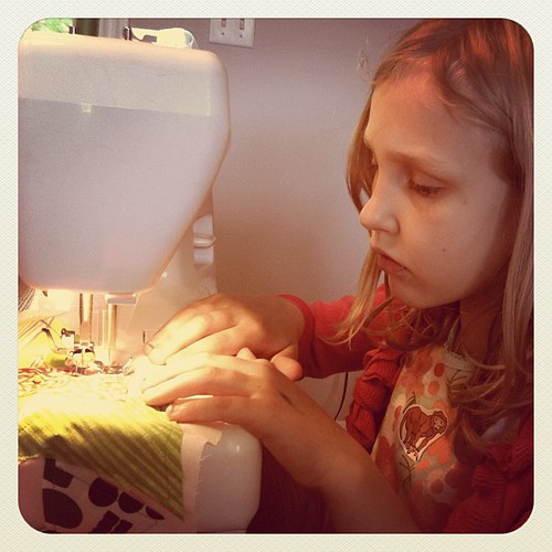 K sewing her scrappy stocking