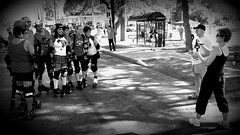Roller Derby (matthew2000tx) Tags: street girls blackandwhite bw woman girl festival female women texas photographer group rollerderby chick bmac chicks ymca blockparty healthfair greyscale bexar sanantoniotexas sanantoniotx ciclovia efs1022mm durby getactive rollerdurby takingbackthestreets canon50d antiobesity biketexas sanantoniosiclovia siclovia2011 reclovia siclovia