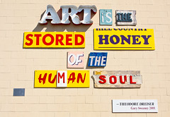 Art Is The Stored Honey Of The Human Soul (Amanda SG) Tags: blue red brick art beer yellow collage wall museum sanantonio words parkinglot texas purple quote letters human honey brewery soul carpark lonestar sama stored theodoredreiser oldlonestarbrewery