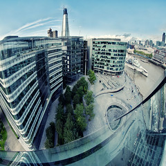 More London Fisheye (Explore Front Page) (martinturner) Tags: bridge house london tower glass thames skyline river open angle riverside cityhall south wide bank fisheye more normanfoster penthouse curve 8mm shard development southwark gla morelondon greaterlondonauthority mayoroflondon 2011 londonassembly samyang martinturner londonbridgequarter