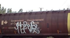 Harvey (Grimey  Trains) Tags: canada train graffiti tag harvey roller bomb freight