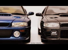 Unidentical Twins (tamahaji) Tags: view blues r subaru type frontal wrx 118 22b autoart moochrome