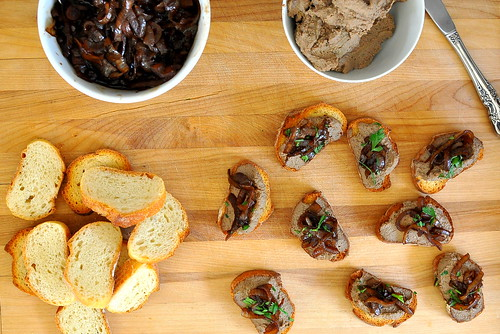 Crostini of Chicken Liver Pate with Balsamic Onions