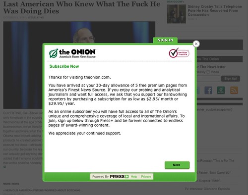 The Onion Pay Wall