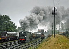 ex SR Bullied 34007 Wadebridge departs Loughborough GCR (FlyingScotsman4472) Tags: autumn pacific smoke steam gala sr loughborough wadebridge gcr bullied 34007