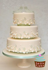 Love Birds and Blossoms Wedding Cake (www.jellycake.co.uk) Tags: flowers wedding green love birds cake blossom ivory sage wiltshire jellycake wwwjellycakecouk