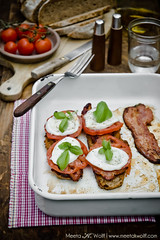 Spicy Bacon Tomato and Buffalo Mozzarella Tartine by Meeta K. Wolff