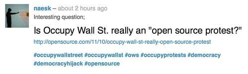 #occupywallstreet #occupywallst #ows #occupyprotests #democracy #democracyhijack #opensource