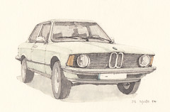 316 (Flaf) Tags: auto colour water car museum pencil munich mnchen drawing bmw florian 1970s freie 3er 316 automobil e21 afflerbach zeichnerei
