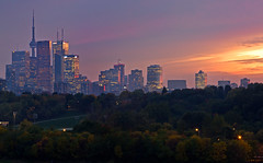 October Sunset (timcorbin) Tags: city autumn trees light sunset sun toronto ontario colour fall clouds canon cityscape cntower 550d