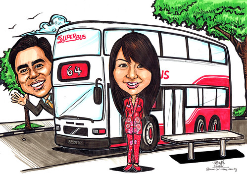Couple caricatures with double decker bus no. 64 - A4