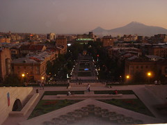Yerevan city and Mount Ararat , Armenia (Alexanyan) Tags: city light sunset mountain capital mount armenia yerevan ararat armenio armenien caucas armenie armeno caucasia erevan armenienne hayasdan