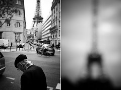 Paris (joannablu kitchener) Tags: street bw blur paris france blurry nikon eiffeltower stranger nikkor d90 kitchenerphotography