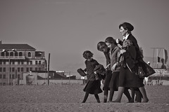 a walk on the beach (Barry Yanowitz) Tags: nyc newyorkcity blackandwhite bw ny newyork beach brooklyn coneyisland blackwhite sand boardwalk nycity 718