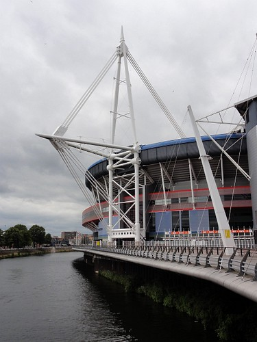 Millennium Stadium and River Taff in Cardiff