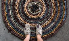 Rustic Rag Rug (roses&pearls) Tags: feet shoes ragrug brownrug crochetrug rosebeerhorst recycledragrug