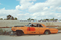 (yyellowbird) Tags: orange chicago abandoned car racetrack grandprix speedway