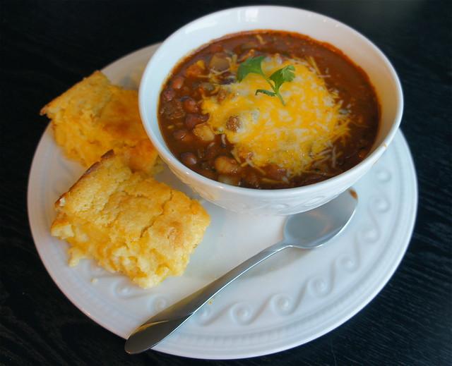 Chili with corn casserole