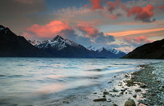 Queenstown Pink Sunrise (Celtics24) Tags: longexposure pink winter newzealand sky mountain lake snow beautiful clouds sunrise canon landscape scenic southisland queenstown lakewakatipu canon5dmkii