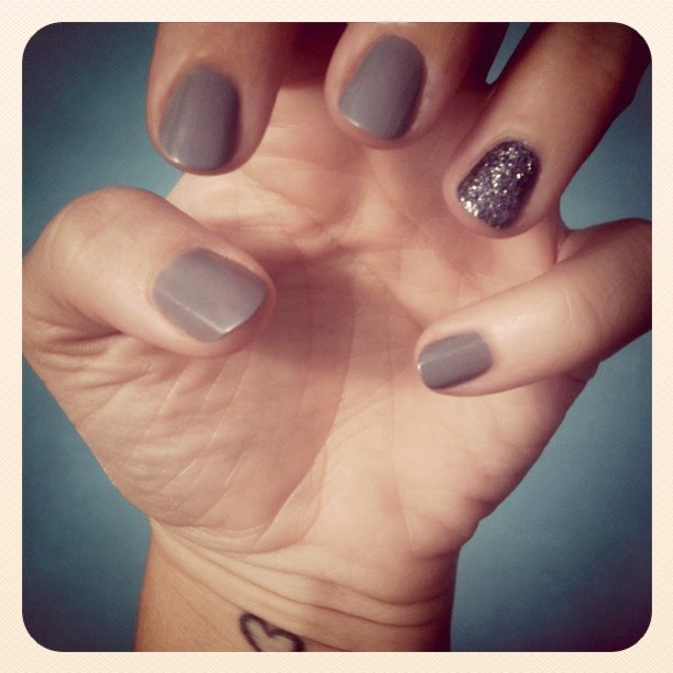 gray nails and glitter nail + martha stewart