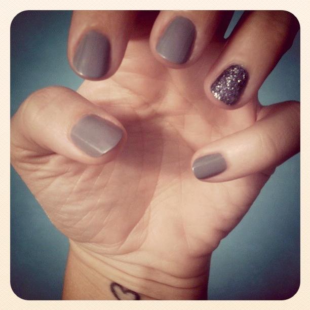 gray nails and glitter nail + martha stewart